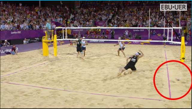 Why don't beach volleyball referees check ball marks?